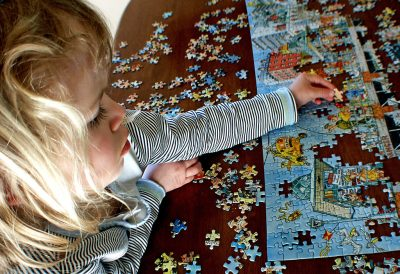 Large 30-piece puzzle pieces work good with small hands.