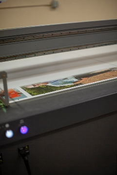A close up of printing custom puzzles.